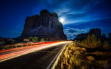Обои: дорога, сша, arches national park, usa, скала, юта, road, rock, ночь, utah, night, арки