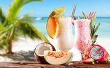 Обои: strawberry, клубника, sea, coconut, молочные коктейли, дыня, море, ананас, кокос, beach, pineapple, melon, milkshakes, пляж
