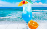 Обои: лед, fresh, пляж, fruits, orange, cocktail, curacao, море, коктейль, tropical, drink, blue, фрукты