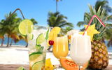 Обои для рабочего стола: fruit, cocktails, коктейли, palms, tropical, beach, drink, fresh
