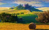 Обои: hills, morning, утро, Italy, hay, field, Tuscany, деревья, стоги, nature, пейзаж, сено, Италия, фермы, природа, trees, восход, Тоскана, landscape, sunrise, farms, sun, солнце, haystacks, холмы, Toscana, поля