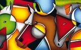 Обои для рабочего стола: composition, face, horses, geometry, color, line, Figure