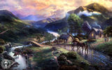 Обои: Emeraldvalley, bridge, mountains, озеро, Thomas Kinkade, живопись, lake, valley, горы, river, животные, деревня, animals, horse, art, природа, nature, мост, Томас Кинкейд, paintig, houses, река, дома, dog