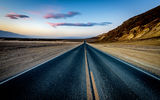 Обои для рабочего стола: highway, desert, rock, sunset, road, mountain, sand, dusk
