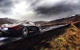 Обои для рабочего стола: McLaren, Supercar, Rear, Fire, Clouds, Rain, Exhaust, Road, Black