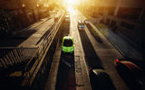 Обои: Downtown, Roadster, Supercar, LP700-4, Chicago, Sunset, City, Green, Aventador, Lamborghini