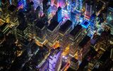 Обои для рабочего стола: Manhattan, United States, USA, lights, New York, NYC, United States of America, evening, buildings, America, New York City, night, offices, above