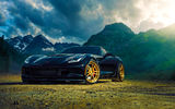 Обои для рабочего стола: Mountain, Sun, Black, Corvette, Ligth, Chevrolet, Z06, ADV.1, Wheels