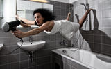 Обои: Brunette, Funny, Hair Dryer, Bath Room