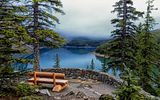 Обои: Lake Moraine, Banff National Park, деревья, скамейка, озеро, ели