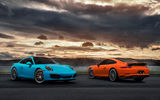 Обои: Carrera, Supercars, Blue, Porsche, Orange, 911, Front, Rear, 2017