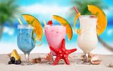 Обои для рабочего стола: fruit, summer, коктейль, пляж, fresh, drink, фрукты, море, sea, tropical, cocktail, paradise, beach