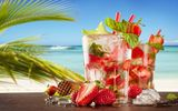 Обои: strawberry, коктейль, мохито, summer, море, drink, cocktail, paradise, пляж, fresh, клубника, mojito, tropical, beach, sea