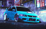 Обои: Evolution, Stance, Lancer, Blue, Front, Mitsubishi, Japan, Future