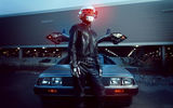 Обои для рабочего стола: Daft Punk, music, silver, delorean, light, Leather, Man, black, car, led