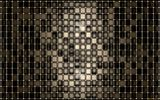 Обои: deep, 3D, black, squares, gold, shape