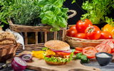 Обои: Fresh vegetables as ingredients for homemade hamburger, еда, макро