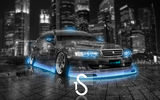 Обои для рабочего стола: Toyota, Blue, City, Neon, Чайзер, Chaser, el Tony Cars, Тойота, Photoshop, Crystal, Tourer V