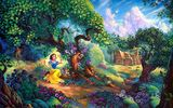 Обои для рабочего стола: цветы, Snow Whites, painting, cartoon, Tom duBois, домик, Snow Whites Magical Forest, forest, Walt Disney