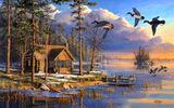 Обои для рабочего стола: sunrise, flying, house, forest, painting, ducks, Mary Pettis, Spring Arrivals, spring, lake