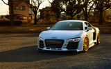 Обои: Audi, R8, white, vossen wheels, front