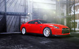 Обои: Nissan, wheels, vossen, red, GTR, frontside