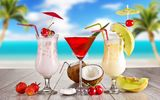 Обои: strawberry, coconut, лето, коктейль, glasses, summer, food, fruits, melon, cherry, cocktail, cocktails