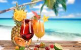 Обои: strawberry, лето, cherry, glasses, pineapple, cocktail, food, summer, lime, coconut, fruits, cocktails, коктейль, melon