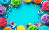 Обои: rainbow, cream, Happy Birthday, кексы, decoration, День Рождения, свечи, крем, candle, cupcake, cake, colorful, celebration, colours