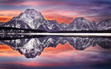 Обои для рабочего стола: Mt Moran reflection, США, Grand Teton National Park, штат Вайоминг, национальный парк, Гранд-Титон