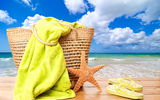 Обои: summer, отдых, vacation, starfish, солнце, accessories, sun, bag, sea, море, beach, пляж, лето, каникулы, towel