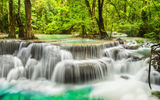 Обои: waterfall, landscape, река, river, forest, лес, водопад, emerald