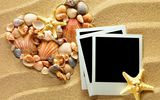 Обои: sand, heart, ракушки, starfishes, песок, texture, seashells, photo frame, сердце