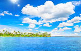 Обои: tropical, море, тропики, vacation, paradise, sunshine, ocean, island, пляж, sea, пальмы, summer, palms