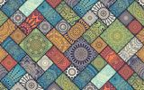 Обои для рабочего стола: Colorful, Vintage, diagonal, pattern, tiles, floral