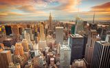 Обои: New York City, skyscrapers, USA, Нью Йорк, небоскрёбы, США, downtown, sunset, город, buildings