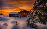 Обои: природа, sunset, дом, scenery, зима, nice, nature, cool, пейзаж, winter, house, небо, snow, снег, sky, beautiful, white, landscape