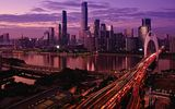 Обои для рабочего стола: city, river, sunset, lights, sky, evening, skyscrapers, architecture, water, buildings, clouds, Pearl River, cityscape, cars, twilight, China, Guangzhou, bridge
