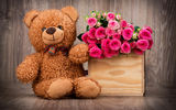 Обои: pink, розы, basket, корзина, bear, roses, букет, flowers, мишка, romantic, Teddy, with love