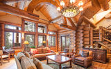 Обои: log home, great room, interior