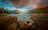 Обои: tenaya lake, mountain, forest, yosemite, dusk
