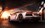 Обои: Lamborghini, Sunset, Beauty, LP700-4, Sky, Reflection, Rear, Aventador, Supercar