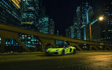 Обои: Lamborghini, City, LP700-4, Supercar, Green, Downtown, Aventador, Roadster, Nigth, Front, Chicago