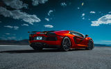 Обои: Lamborghini, Aventador-V, Clouds, Desert, Supercar, Zaragoza, Sky, Vorsteiner, LP740-4, Orange, Rear