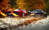 Обои: Ferrari, Exhaust, FXX K, Fire, P1, Black, McLaren, Foliage, Red, Supercars