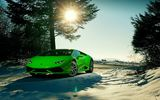 Обои: Lamborghini, Ligth, Snow, LP640-4, Beauty, Sky, Color, Supercar, 2015, Huracan, Green, Front, Sun