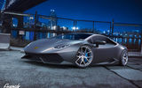 Обои для рабочего стола: Lamborghini, Huracan, by Gurnade, Grey, Wheels, Front, Nigth, LP640-4, City, Supercar, HRE