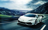 Обои для рабочего стола: Lamborghini, LP640-4, Mountain, Huracan, White, Front, Road, Supercar