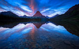 Обои: Sinopah Mountain, Two Medicine Lake, Glacier National Park, лодка, горы, отражение, озеро, Montana