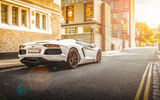 Обои: Lamborghini, Street, City, Road, Beam, Rear, Supercar, Aventador, LP700-4, White